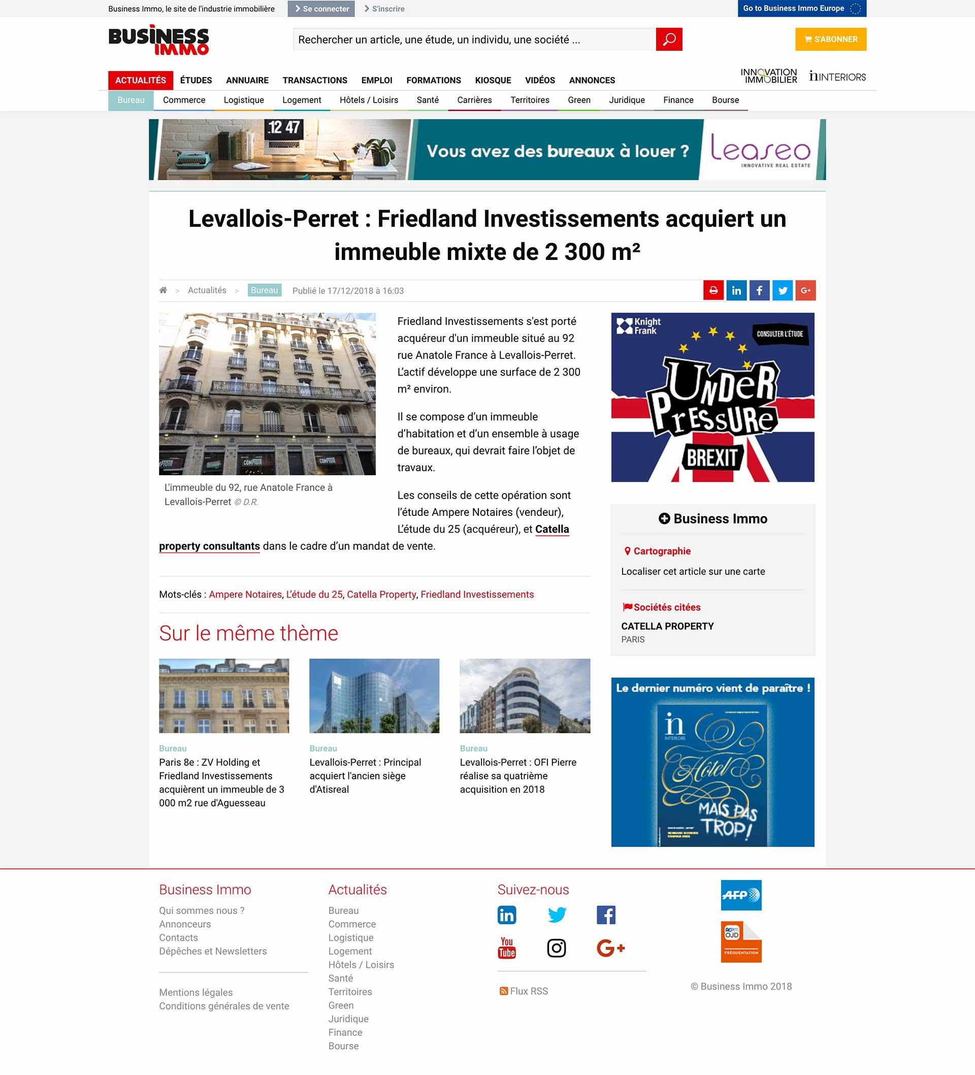 Friedland-Investissements-Levallois-Perret-Friedland Investissements Presse
